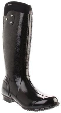 Bogs Women's Rider Emboss Fashion Rain Boot,Black,9 M US