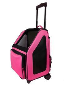 Petote Rio Pet Carrier Bag on Wheels, Black Trim/Fuchsia