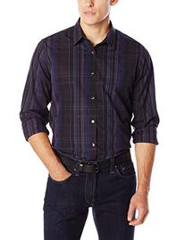 Calvin Klein Men's Roadmap Plaid Long Sleeve Woven Shirt,