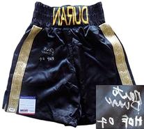 "Roberto Duran Signed Black Custom Boxing Trunks ""HOF 07"" PSA"