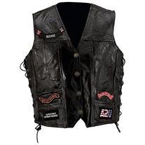 Diamond Plate Rock Design Genuine Buffalo Leather Vest- 4x