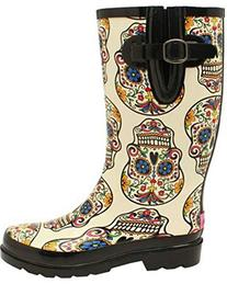 Blazin Roxx Women's Rocki Sugar Skull Rain Boot White 10 US