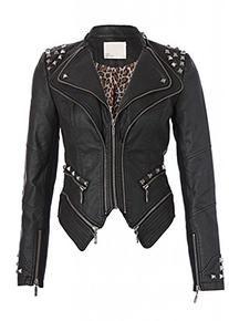 Rocking Cool Black Studded Punk Style PU Faux Leather Slim