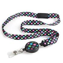 Rocking Dot Ribbon Lanyard with ID Badge Reel For Women with