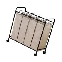Household Essentials Rolling Quad Sorter Laundry Hamper with