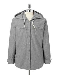 Dkny Jeans Roll-Tab Slub Hooded Shirt-GREY-Medium