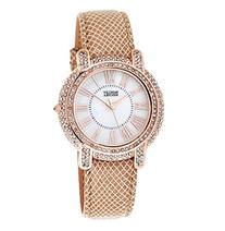 Badgley Mischka® Rose Goldtone Crystal and Leather
