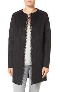 Women's T Tahari Rosemary Lace Trim Faux Suede Coat, Size X-
