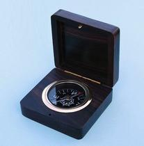 Rosewood Desk Brass Nautical Compass w/ Hand Inlaid Compass