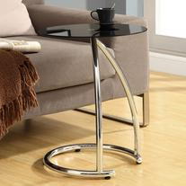 Monarch Round Chrome Metal Accent Table with Black Tempered