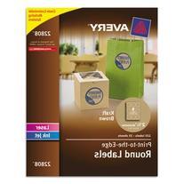 "Round Easy Peel Labels, 2-1/2"" Dia., Brown Kraft, 225/Pk"