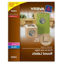 "-- Round Easy Peel Labels, 2-1/2"" Dia., Brown Kraft, 225/Pk"