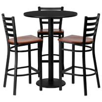 Flash Furniture Round Laminate Table Set with 3 Ladder Back