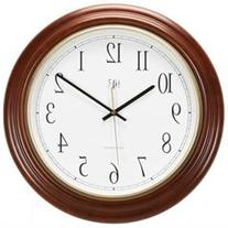 16 in. Round Post Office Atomic Wall Clock in Cherry Finish