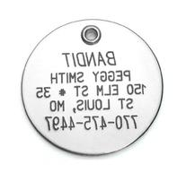 Round Shaped Dog Cat Pet ID Tag Custom Engraved Stainless