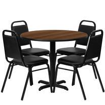 """Flash Furniture 36"""" Round Walnut Laminate Restaurant Dining"""