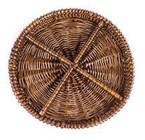 Round Natural Willow Snack Basket Tray Organizer in Dark