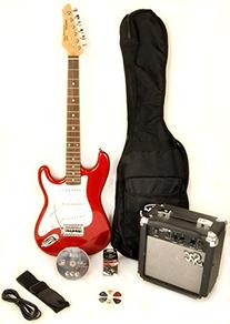 SX RST 3/4 CAR Short Scale Red Electric Guitar Package with
