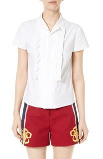 Women's Red Valentino Ruffle Poplin Camp Shirt, Size 8 US /