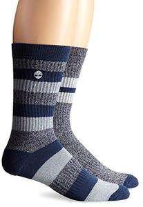 Timberland Men's 2 Pack Rugby Stripe Cotton Crew Sock, Navy
