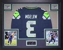 Russell Wilson Autographed and Framed Blue Seahawks Jersey