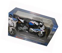BMW S1000RR White with Blue Motorcycle Model 1/12 by
