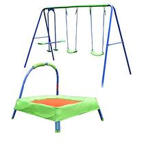 HLC Safety 3 in 1 Swing Seesaw+ 32'' Trampoline for Kids