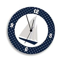 Sail Boat Nursery Wall Clock with White Polka Dots, Nautical