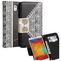 Samsung Galaxy Note 3 Case, Leather Wallet  Bling with Cards