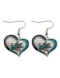 San Jose Sharks Swirl Heart Earring NHL Dangle Logo Charm
