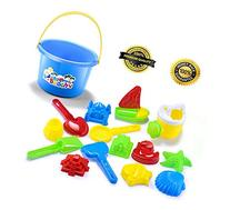 GLOUE Beach Toy Set in Reusable Mesh Bag, 15 pieces