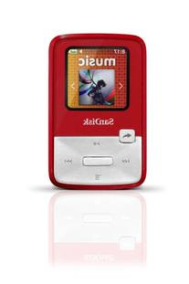 SanDisk Sansa Clip Zip 4GB MP3 Player, Red With Full-Color