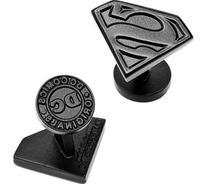 Satin Black Superman Shield Cuff Links - 1 Pair