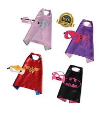 4 PACK Satin Superhero CAPE & MASK SETS - Boys, Girls,