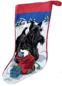 Scottish Terrier Scottie Dog Needlepoint Christmas Stocking