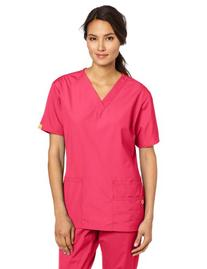 WonderWink Women's Scrubs Bravo 5 Pocket V-Neck Top, Hot