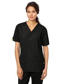 WonderWink Women's Scrubs Bravo 5 Pocket V-Neck Top, Black,