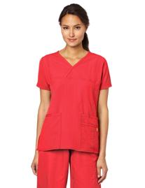 WonderWink Women's Scrubs Four Way Stretch Y-Neck Top, Poppy