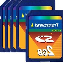 Lot of 5 Transcend SD 2GB memory card