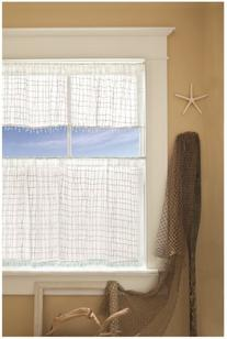 Heritage Lace Seacoast Valance with Trim, 45 by 15-Inch,