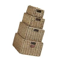 VonHaus Set of 4 Seagrass Storage Baskets with Lids and Insert Handles Ideal for Home and Bathroom Organization