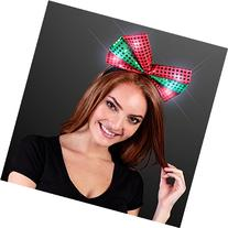 Sequin Light Up Green & Red Christmas Bow Headband