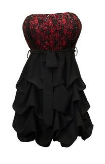 eVogues Women's Sequined Princess Ruffle Dress Black Red -