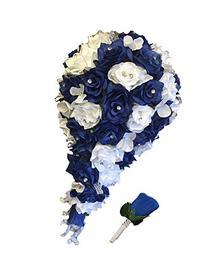 2pc Set: Cascade Bridal Bouquet & Boutonniere W/bling: Royal