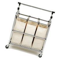 Seville Classics 3-Bag Laundry Sorter w/ Hang Bar, SHE16165B
