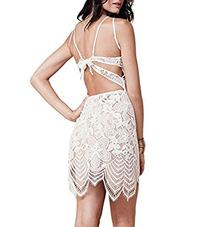 DEARCASE Women Sexy Backless Floral Lace Crochet Summer