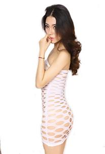 Women Sexy Big Hole Mini Dress Super Short White Tights