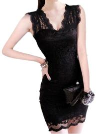 Womens Sexy Sleeveless Evening Party Cocktail Ball Lace Mini