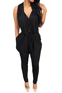 Pink Queen Women Sexy V Neck Casual Harem Pants Jumpsuits