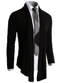 H2H Mens Fashion Shawl Cardigan with Shirring Neck Line NAVY